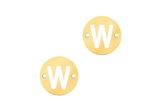 Link Acciaio Lettera W - Oro 10mm - 2pz