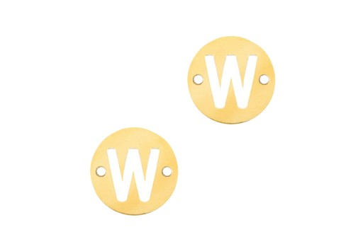 Stainless Steel Charms Connector Letter W - Gold 10mm - 2pcs