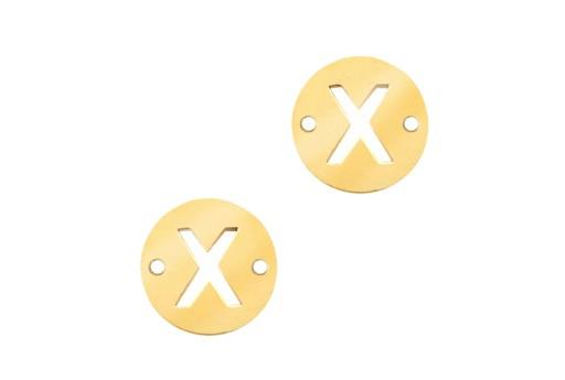 Link Acciaio Lettera X - Oro 10mm - 2pz