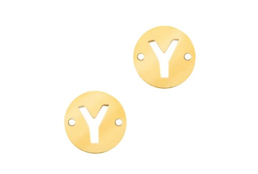 Stainless Steel Charms Connector Letter Y - Gold 10mm - 2pcs