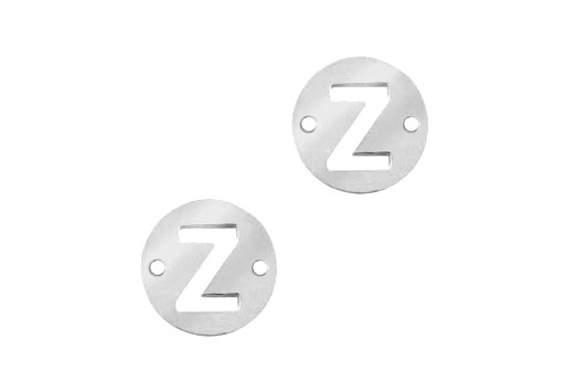 Stainless Steel Charms Connector Letter Z - Platinum 10mm - 2pcs