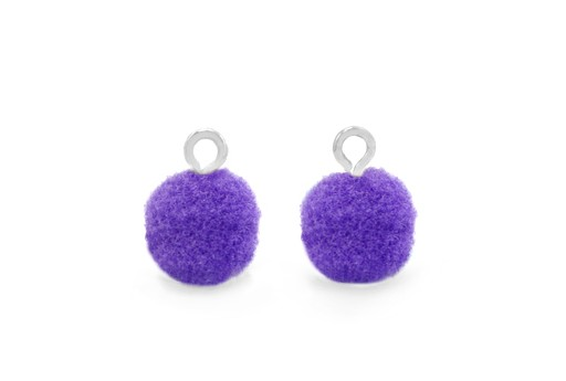 Pom Pom Charms With Loop - Silver-Purple 10mm 4pcs