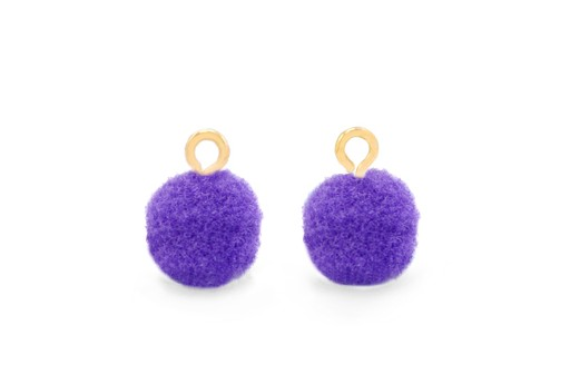 Pom Pom Charms With Loop - Gold-Purple 10mm 4pcs