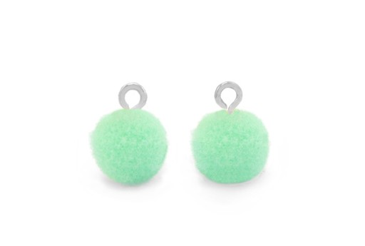 Pom Pom Charms With Loop - Silver-Green 10mm 4pcs