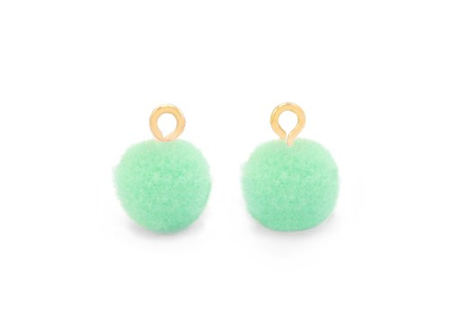 Pom Pom Charms With Loop - Gold-Green 10mm 4pcs