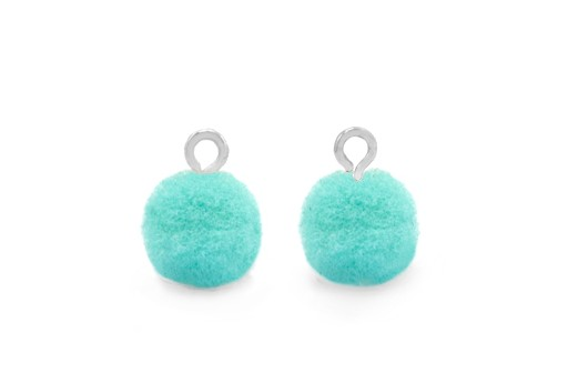 Pom Pom Charms With Loop - Silver-Turquoise 10mm 4pcs