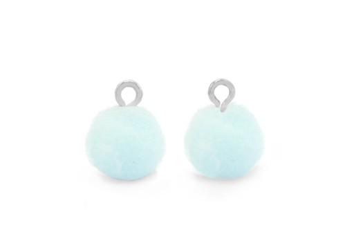 Pom Pom Charms With Loop - Silver-Light Blue 10mm 4pcs