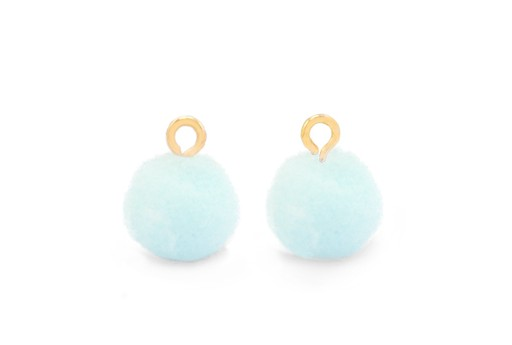 Pom Pom Charms With Loop - Gold-Light Blue 10mm 4pcs
