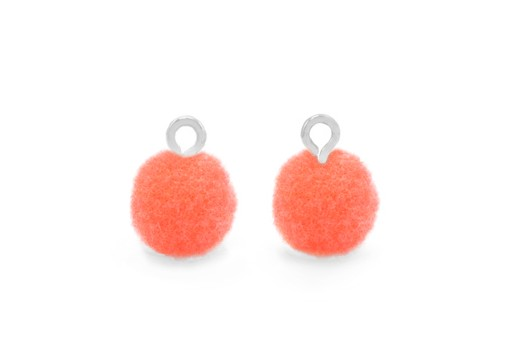 Pom Pom Charms With Loop - Silver-Coral 10mm 4pcs