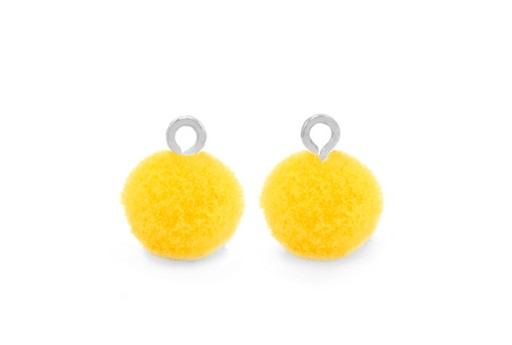 Pom Pom Charms With Loop - Silver-Yellow 10mm 4pcs