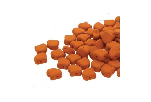 Czech Glass Ginko Beads - Matte Velvet Carrot 7,5mm - Pack 100gr