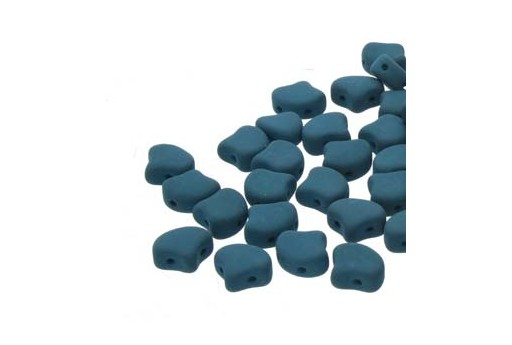 Czech Glass Ginko Beads - Matte Velvet Dark Teal 7,5mm - Pack 100gr