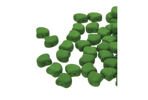 Czech Glass Ginko Beads - Matte Velvet Lizard Green 7,5mm - Pack 100gr