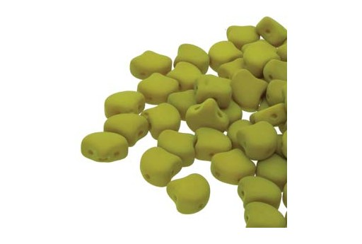 Czech Glass Ginko Beads - Matte Velvet Lemongrass 7,5mm - Pack 100gr