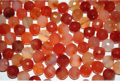 Cornelian Beads Natural Faceted Sphere 12mm - 32pz