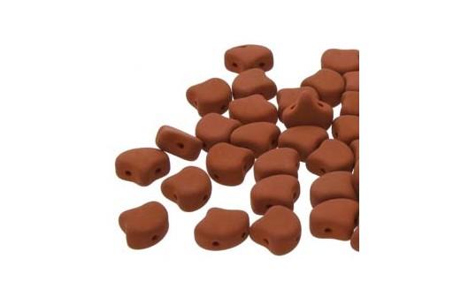 Czech Glass Ginko Beads - Matte Velvet Brick 7,5mm - Pack 100gr