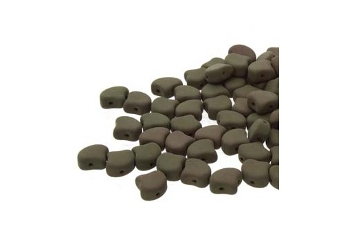 Czech Glass Ginko Beads - Matte Velvet Mushroom 7,5mm - 10gr