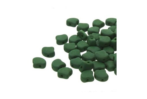 Czech Glass Ginko Beads - Matte Velvet Forest Green 7,5mm - Pack 100gr
