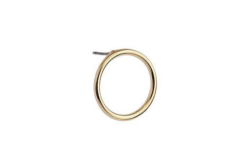 Round Earring With Titanium Pin - Gold 19mm - 2pcs