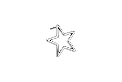 Star Wire Earring With Titanium Pin - Antique Silver 18,3x18mm - 2pcs