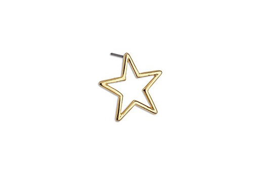 Star Wire Earring With Titanium Pin - Gold 18,3x18mm - 2pcs