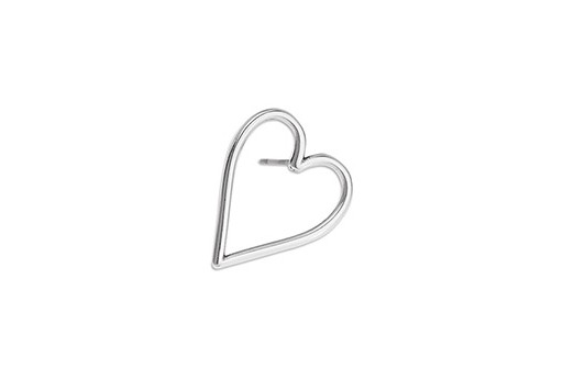 Heart Wire Earring With Titanium Pin - Antique Silver 17x21mm - 2pcs