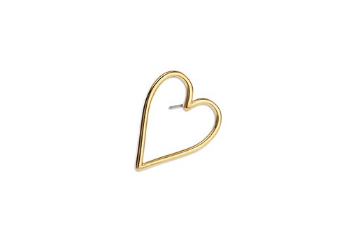 Heart Wire Earring With Titanium Pin - Gold 17x21mm - 2pcs