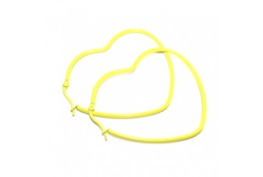 Heart Wire Earring - Yellow 49x52mm - 2pcs