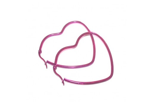 Heart Wire Earring - Fuchsia 46x52mm - 2pcs