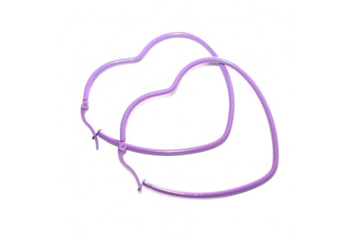 Heart Wire Earring - Purple 46x52mm - 2pcs