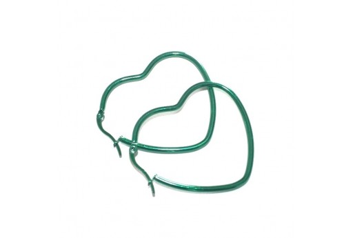 Heart Wire Earring - Green 37x44mm - 2pcs