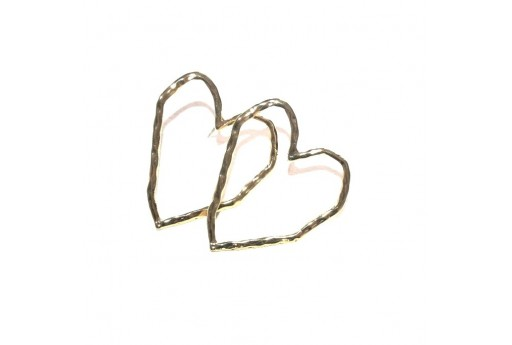 Heart Wire Earring - Gold 38x34mm - 2pcs