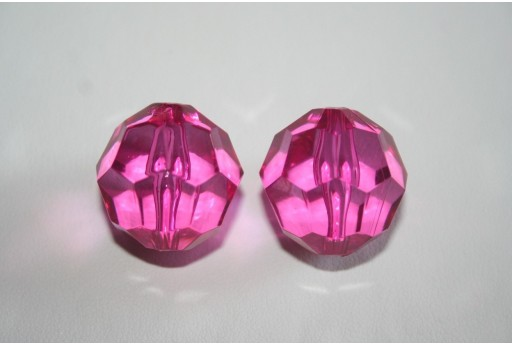 Acrylic Beads Transparent Fuchsia Faceted Sphere 24mm - 4Pz