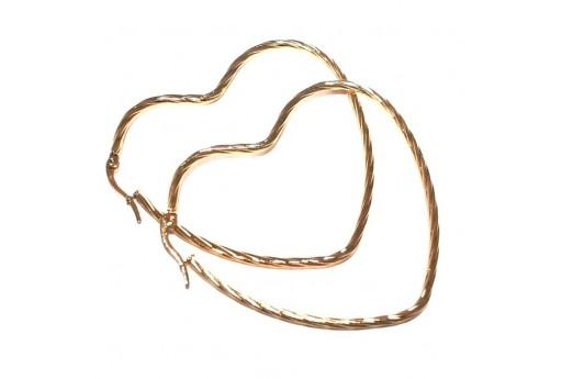 Heart Wire Earring - Gold 60x50mm - 2pcs