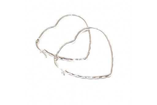Heart Wire Earring - Silver 43x40mm - 2pcs