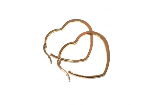 Heart Wire Earring - Gold 45x38mm - 2pcs