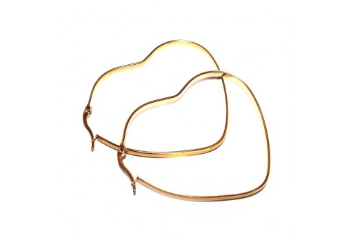 Heart Wire Earring - Gold 57X50mm - 2pcs