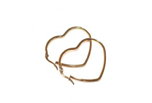 Heart Wire Earring - Gold 42x36mm - 2pcs