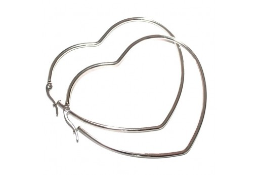 Heart Wire Earring - Platinum 64x55mm - 2pcs