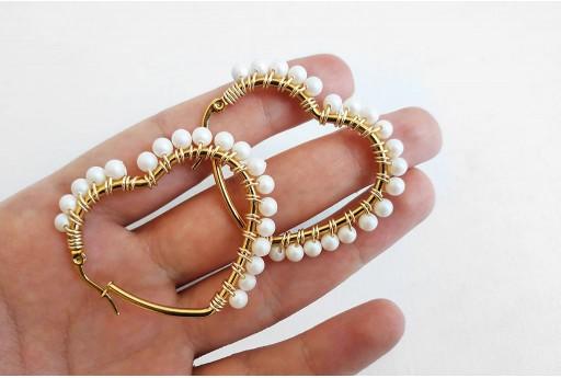 Kit Orecchini Cuore Wire Perle Swarovski Pearlescent White
