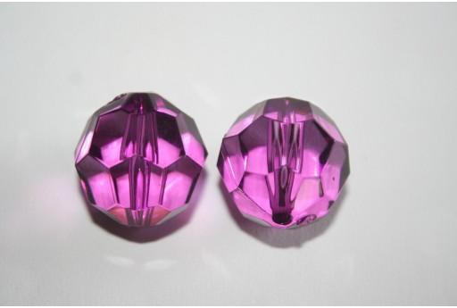 Perline Acrilico Trasparente Viola Sfera Sfaccettata 24mm - 4Pz