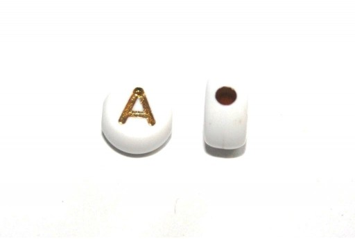 Plating Acrylic Beads - Letter A 7x4mm - 20pcs