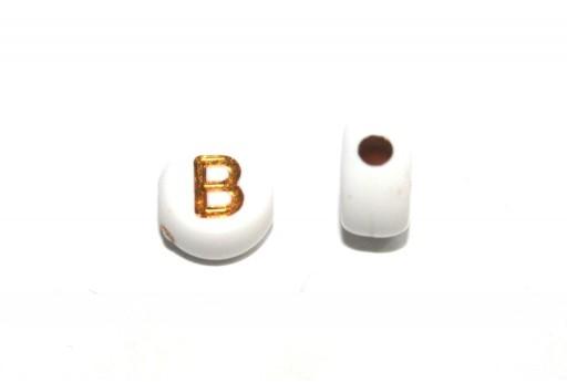 Perline Acrilico Lettera B - Tondo 7x4mm - 20pz