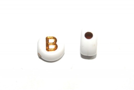 Plating Acrylic Beads - Letter B 7x4mm - 20pcs