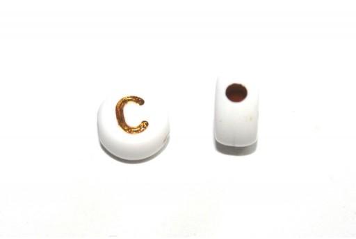 Perline Acrilico Lettera C - Tondo 7x4mm - 20pz
