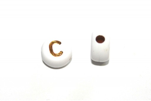 Plating Acrylic Beads - Letter C 7x4mm - 20pcs