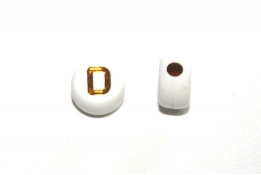 Plating Acrylic Beads - Letter D 7x4mm - 20pcs