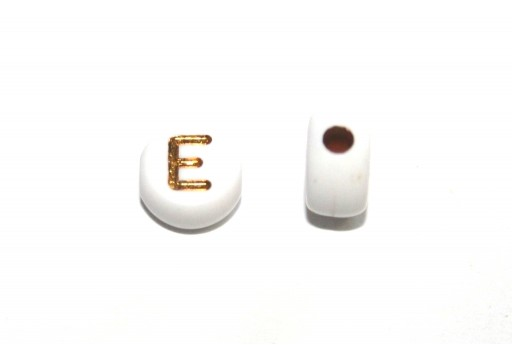 Plating Acrylic Beads - Letter E 7x4mm - 20pcs
