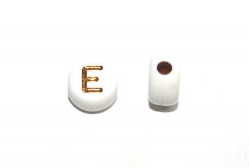 Plating Acrylic Beads - Letter E 7x4mm - 20pcs