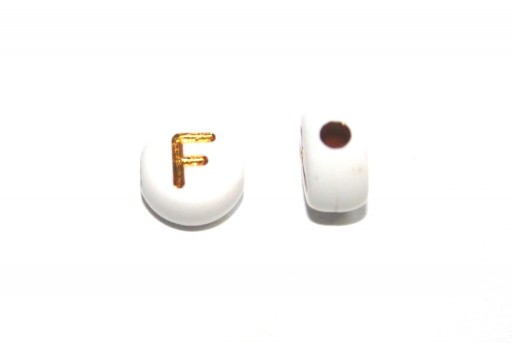 Plating Acrylic Beads - Letter F 7x4mm - 20pcs